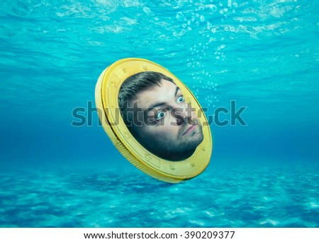 Human face in the coin - stock photo