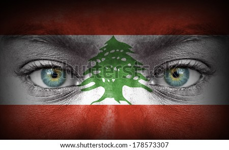 Human face painted with flag of Lebanon - stock photo