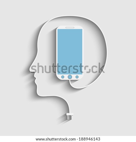 Human face profile with a phone cable. - stock photo