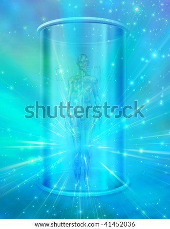 Human female figure in transparent container - stock photo
