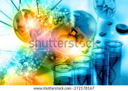 Human fetus in scientific background - stock photo