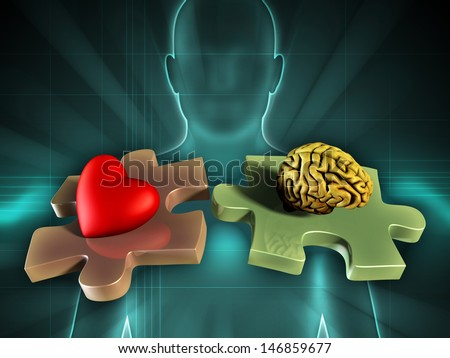 Human figure on background, with an heart and a brain on two matching puzzle pieces. Digital illustration. - stock photo