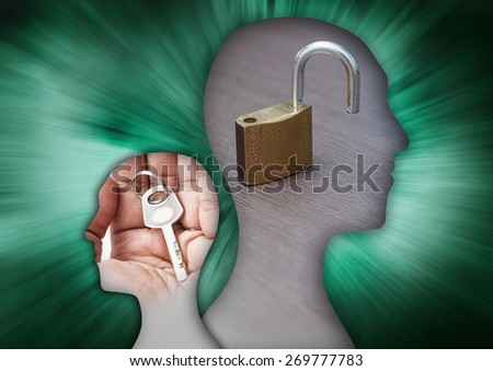 human figure with padlock image. concept image for the purpose of an open and positive mind accept challenges and business opportunities - stock photo