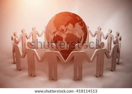 Human figures surround earth against blue sky - stock photo