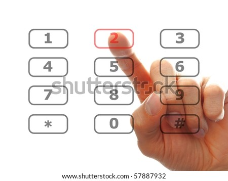 human finger dial a telephone number, isolated on white background - stock photo