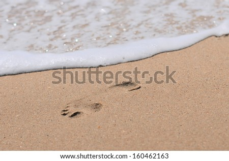 Human footprints on the sand beach - stock photo