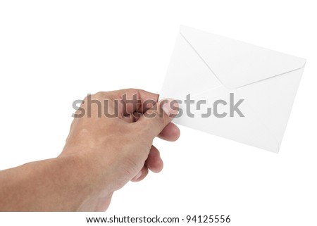 human hand and letter - stock photo