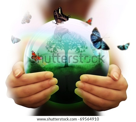human hand and multicolored butterflies grass and a symbol of the environment collage - stock photo