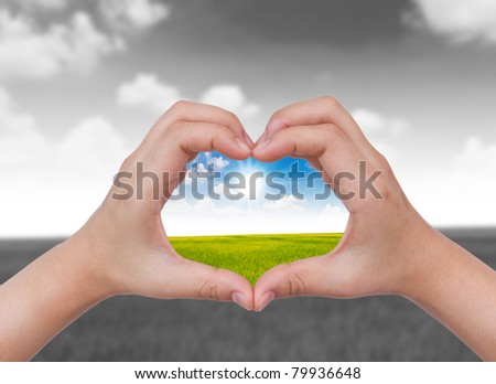 Human hand and nature concept inside - stock photo
