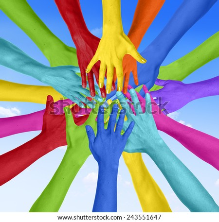 Human Hand Circle Togetherness Connection Teamwork Community Concept - stock photo