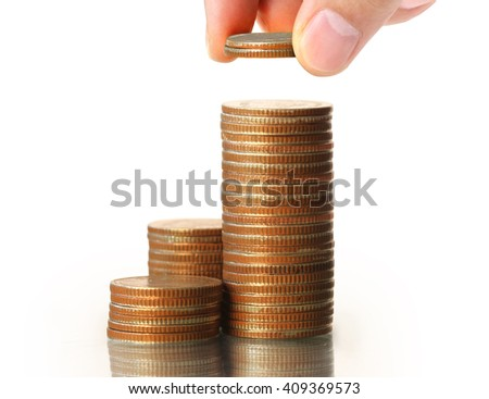 Human Hand coin to money, business ideas - stock photo