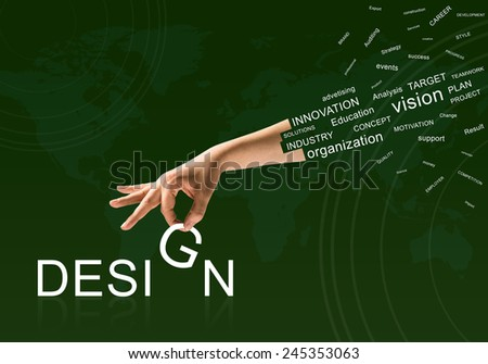 Human hand connecting letters of word design - stock photo
