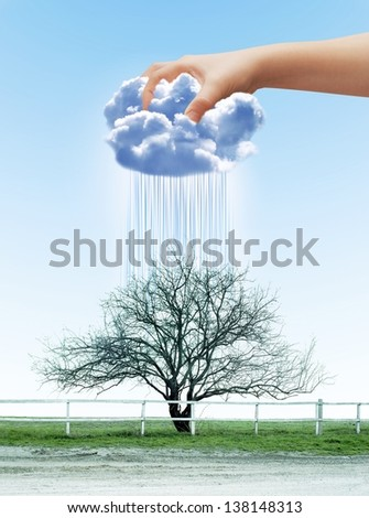 Human hand contracting cloud like a sponge, watering dry tree - stock photo