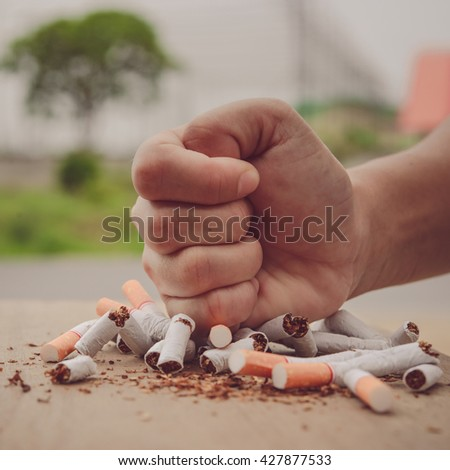Human hand crushed some cigarettes - stock photo