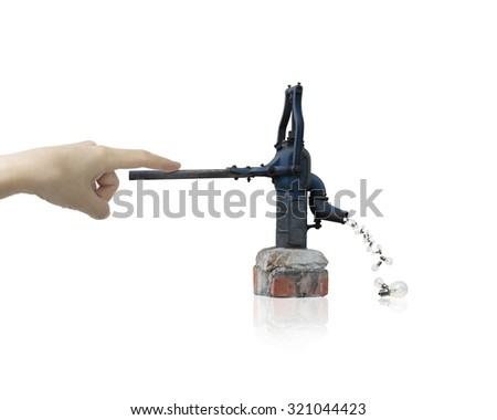 Human hand drawing out light bulbs from retro water pump, isolated on white background. - stock photo
