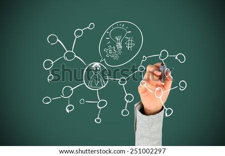Human hand drawing social network - stock photo