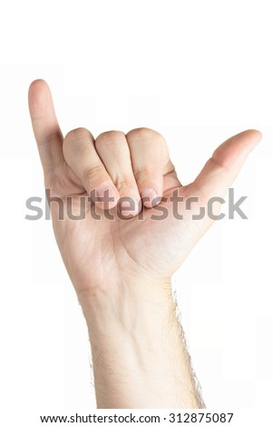 Human hand gesture isolated. Shaka sign. - stock photo
