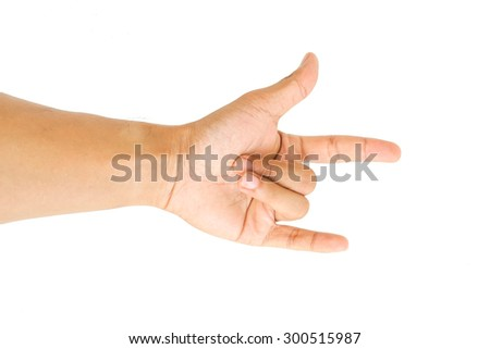 Human hand gestures isolated on white background - stock photo