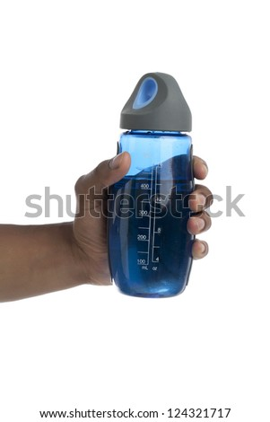 Human hand holding a reusable bottle with water - stock photo