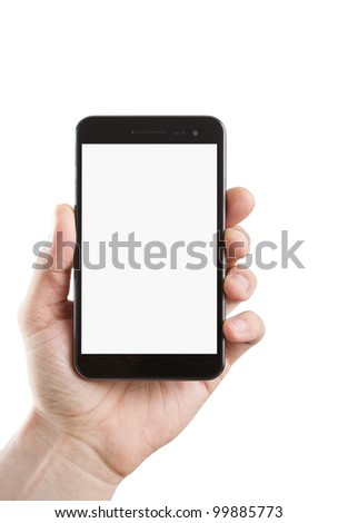 Human hand holding blank large mobile smart phone with clipping path for the screen - stock photo