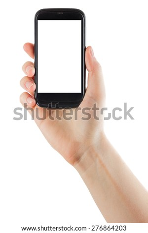 Human hand holding blank mobile smart phone isolated on white background with clipping path for the screen - stock photo