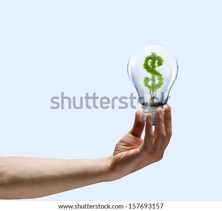 Human hand holding bulb with money tree inside. Wealth concept - stock photo