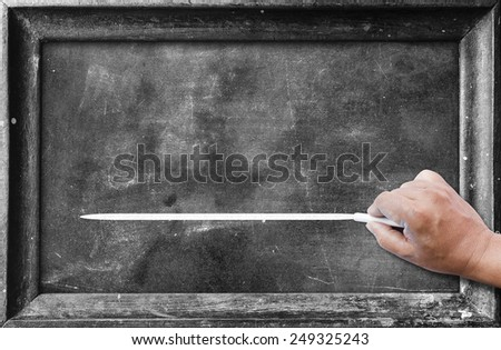 Human hand holding chalk and drawing horizontal line for text on blackboard. - stock photo
