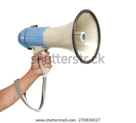 Human hand holding megaphone isolated on white with path - stock photo