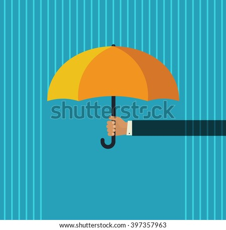 Human hand holding open orange umbrella protecting from abstract pouring rain illustration, template for support, protection, modern simple flat cartoon design isolated on blue background image - stock photo