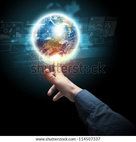 Human hand holding our planet earth glowing.Elements of this image furnished by NASA. - stock photo