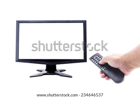 Human hand holding remote and empty monitor isolated on white. World Television Day concept. - stock photo