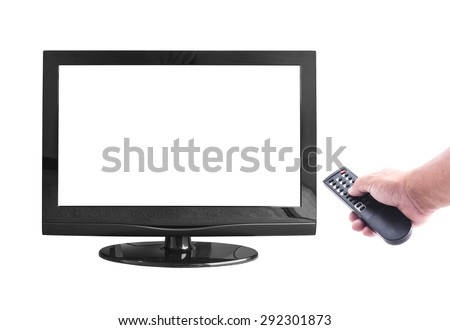 Human hand holding remote and empty monitor isolated on white. World Television Day. Frame For Merry Christmas Card, Happy New Year 2016 concept idea. - stock photo