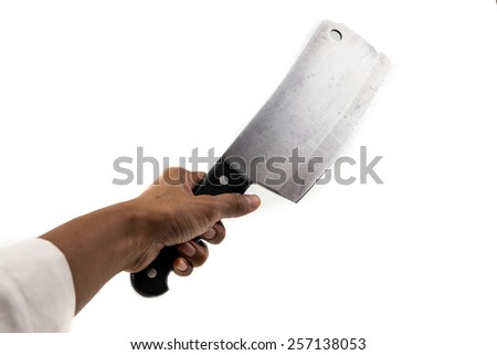 human hand holds butcher knife or cleaver isolated on white - stock photo