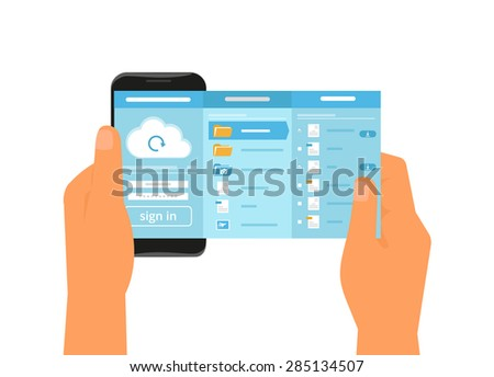 Human hand holds smartphone with app for cloud sync. - stock photo