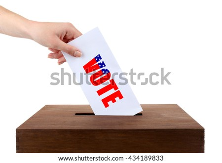 Human hand inserting bulletin in ballot box isolated on white - stock photo