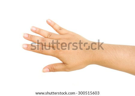 Human hand isolated on white background - stock photo