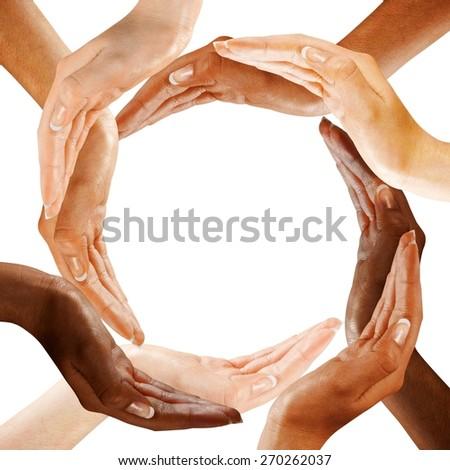 Human Hand. Multiracial Hands Making a Circle - stock photo