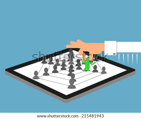 Human hand picked up a person from social community  illustrated on tablet pc. - stock photo