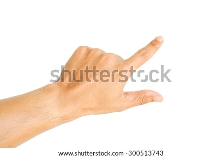 Human hand point something isolated on white background - stock photo