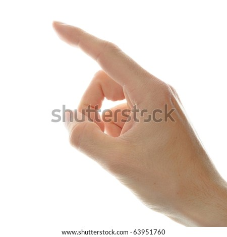 human hand point with finger isolated on white background - stock photo