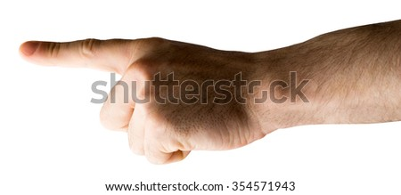 Human hand pointing on isolated white background - stock photo