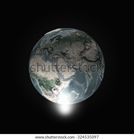 Human hand pointing with finger on Earth planet. Elements of this image are furnished by NASA - stock photo