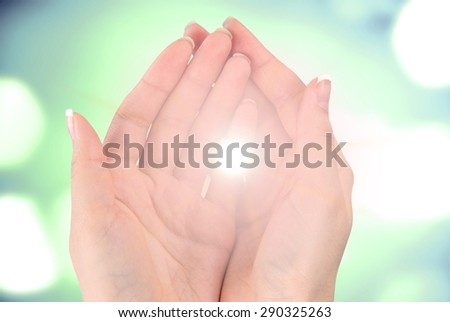 Human Hand, Praying, Light. - stock photo