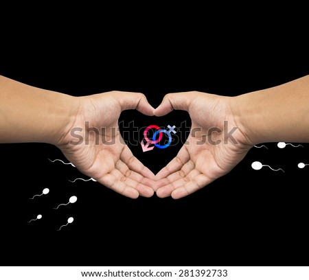 Human hand protect  Male Female symbol with sperm. Safe Sex concept. - stock photo