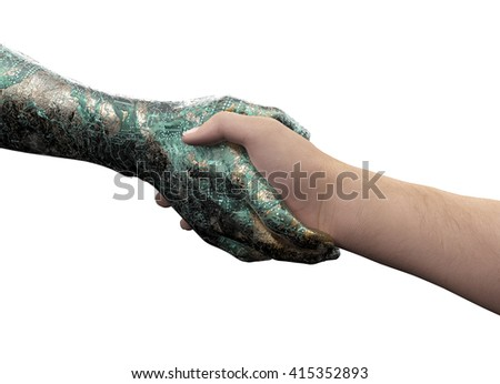 human hand shaking robot hand isolated on white with clipping path, 3d illustration - stock photo