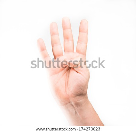 Human hand showing four fingers - stock photo