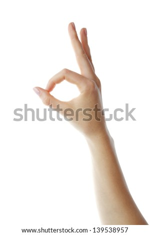 Human hand showing OK (fine) sign - stock photo