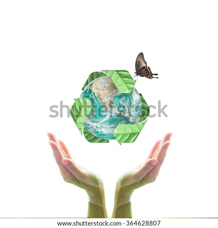 Human hand support bio recycle arrow sign shape world globe tree leaf w/ butterfly isolated on white background: Sustainable development CSR conceptual idea: Elements of this image furnished by NASA - stock photo