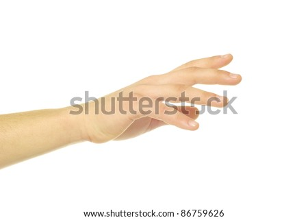 human hand take over on white white background - stock photo