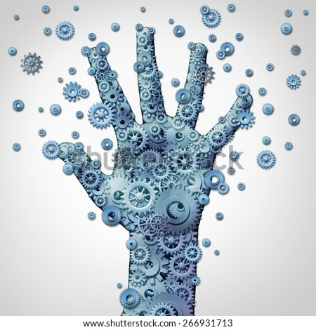 Human hand technology symbol as fingers made of a connected network of machine gears and cog wheels spreading outward as an innovation concept for robotics or artificial intelligence. - stock photo